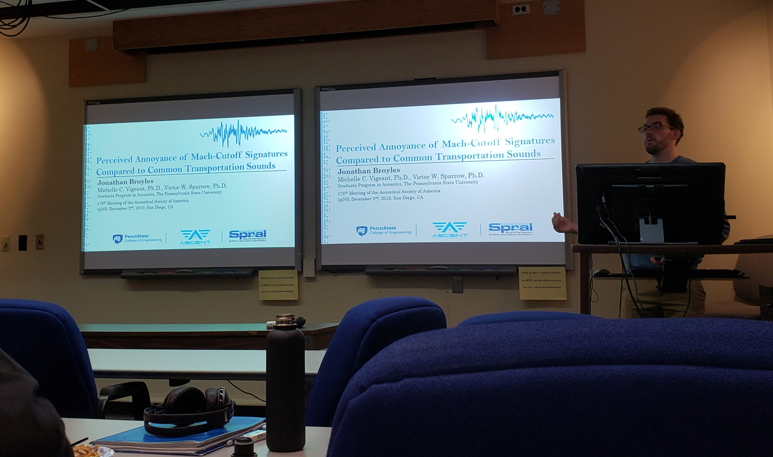 Jonathan Broyles practices his ASA San Diego presentation
